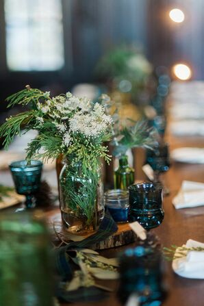 Glass Centerpieces With Cedar and Baby's Breath