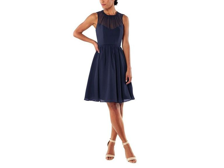 Short navy bridesmaid dress under $100