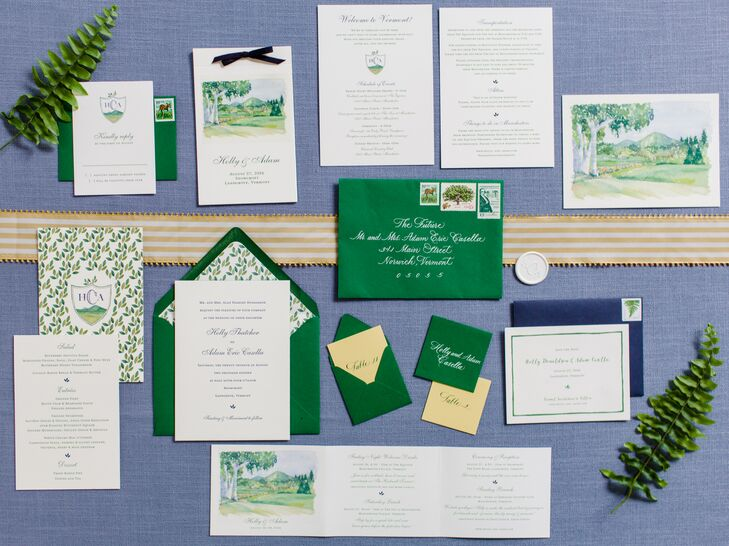 Custom Green and White Invitations with Watercolor Illustrations