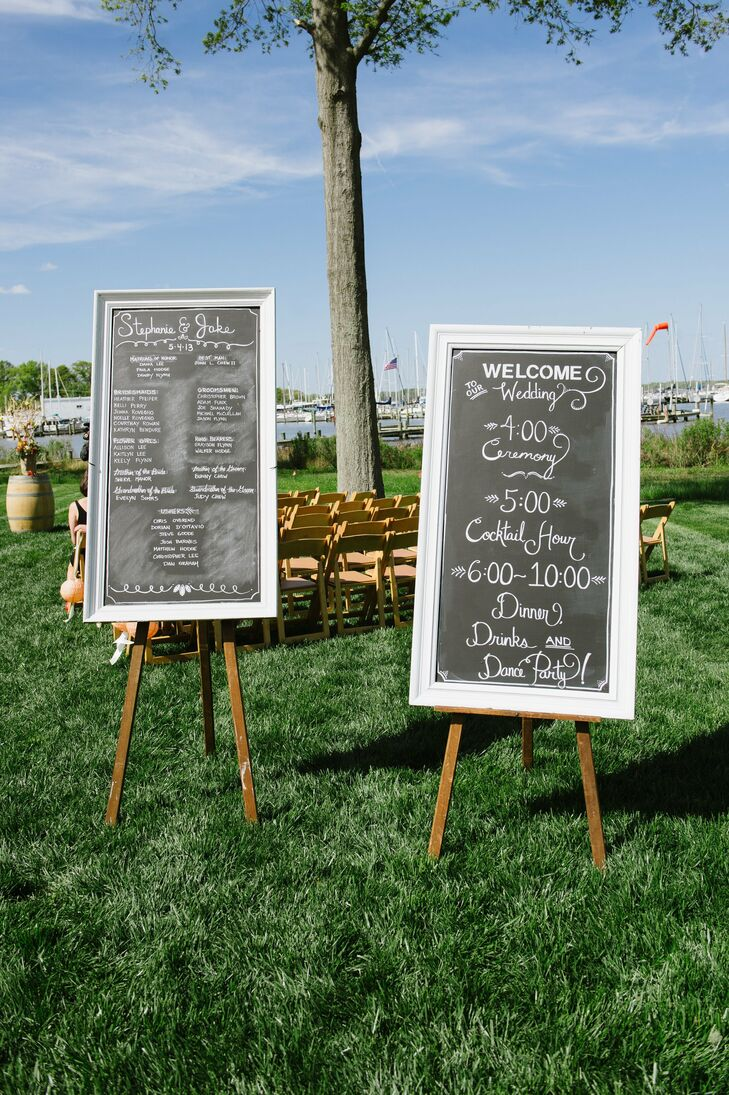 The celebration's events, times and major players were detailed on large chalkboards that were displayed at the ceremony.
