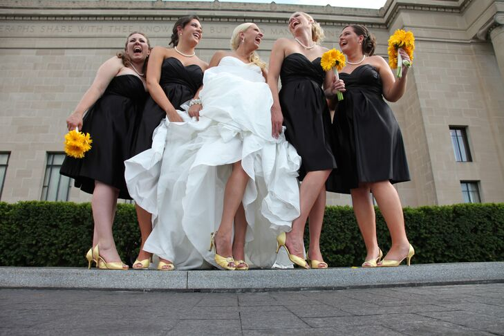 The bridesmaids wore simple black strapless cocktail dresses from The Gown Gallery in Kansas City.