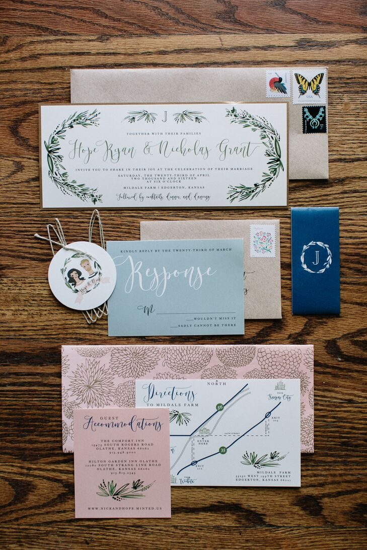 "Hope and Nick enlisted Yellow Brick Graphics to create a standout set of stationery that truly captured the essence of the day. Each piece in the suite boasted a different design, with floral detailing, curly calligraphy-inspired fonts and a personalized portrait belly band lending a whimsical feel to the overall design. ""The theme of the wedding was my unorganized thoughts and adjectives I rambled about—I didn't even understand what I wanted—but somehow, each vendor, especially Mikenzie, knew exactly what to do,"" Hope says."