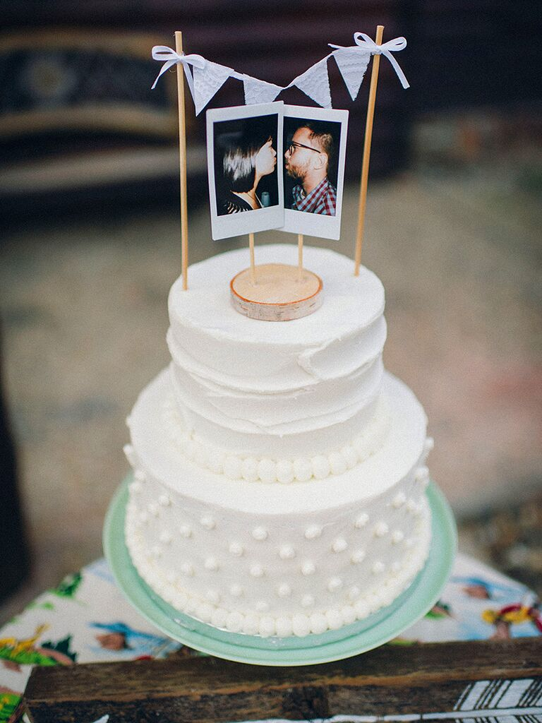 DIY polaroid picture wedding cake topper idea