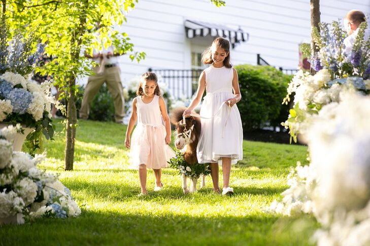 Flower Girls with White Dresses and Dwarf Horse