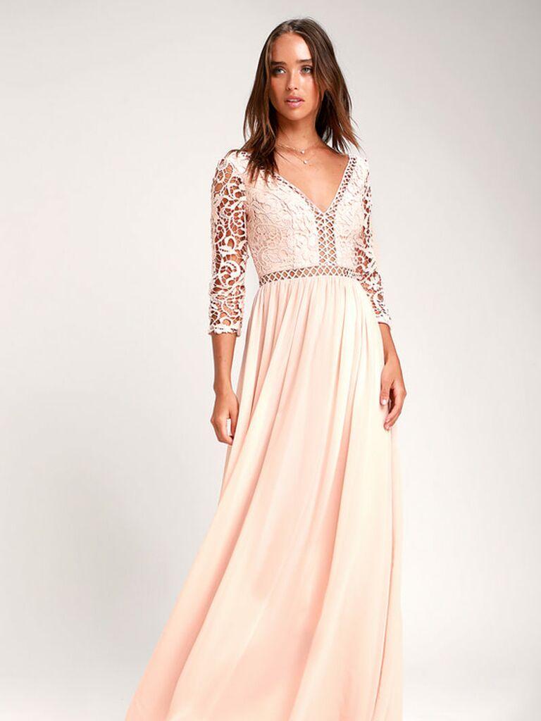 Peach lace Lulus spring bridesmaid dress