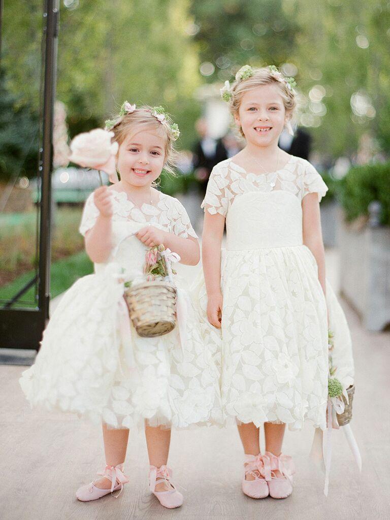 Eyelet flower girl wedding dresses