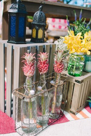 Yellow Orchid and Pink Pineapple Arrangements