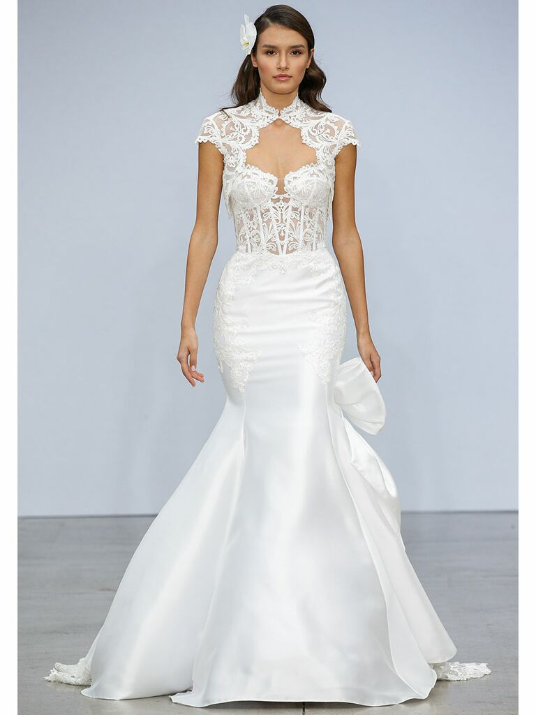 Pnina Tournai wedding dress lace and satin mermaid gown with cap sleeves
