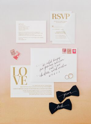 White and Gold 'Love' Wedding Invitations