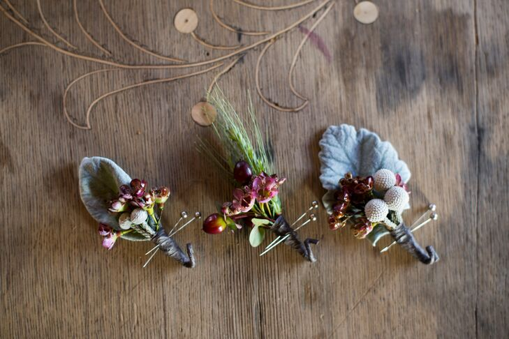 Silver Brunia and Lamb's Ear Boutonnieres