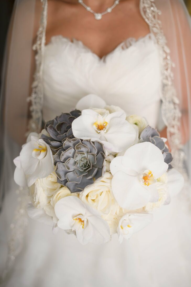 Orchid And Succulent Bridal Bouquet