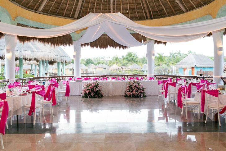 Pink And White Destination Wedding Reception