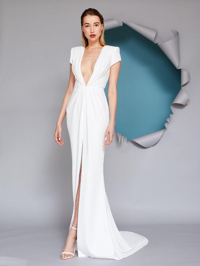 Gracy Accad V-neck draped wedding dress