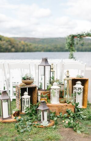 Vintage Lanterns, Wood and Succulent Aisle Decorations