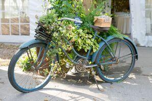 Vintage Bike and Flower-Seed Favor Display
