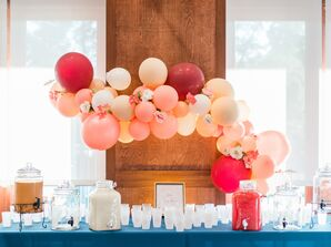 Drink Station with Pink Balloons