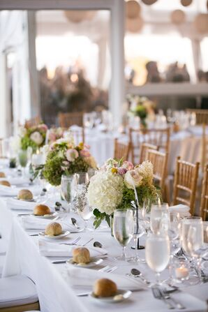 Hydrangea, Rose and Peony Centerpieces