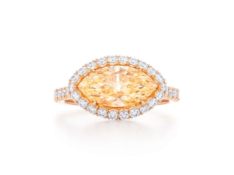 Marquise yellow orange diamond engagement ring