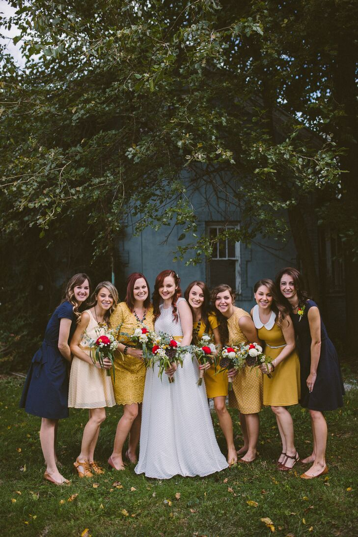 The bridal party consisted of both Jessica and Chris's sisters and two of Jessica's friends. Each woman chose her own dress with a few guidelines—that it be vintage inspired and mustard (or navy blue for Jessica's friends).