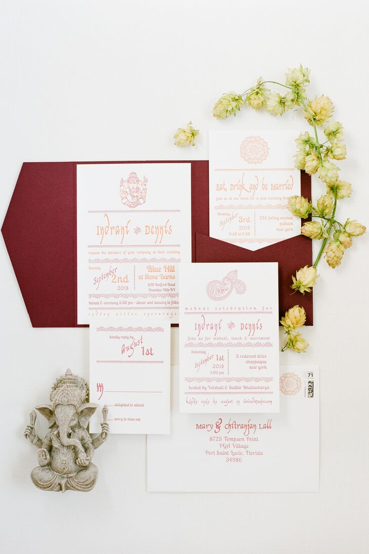 Red and White Hindu-Inspired Wedding Invitations