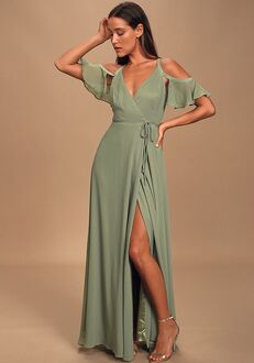 Lulus Easy Listening Sage Green Cold-Shoulder Wrap Maxi Dress V-Neck Bridesmaid Dress