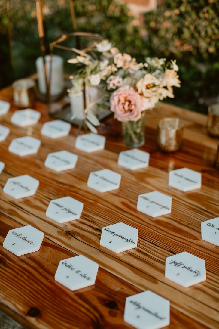 Simple Marble Tile Escort Cards on Wood Table