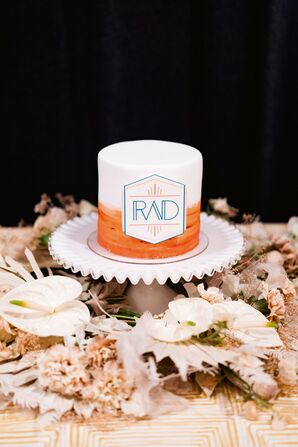 Mini Orange Ombré Wedding Cake