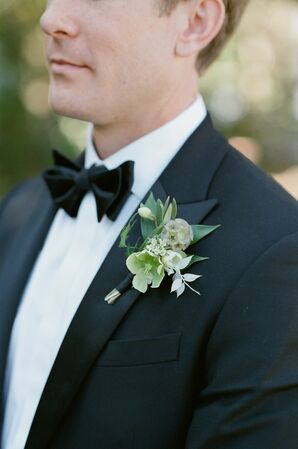 Classic Boutonniere with Small White Flowers and Leaves