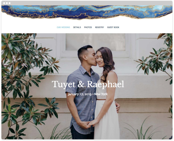 Gold Flourish Wedding Website Template, The Knot
