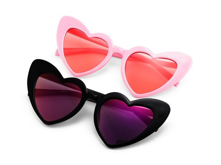 Heart shaped sunglasses bridal shower favor