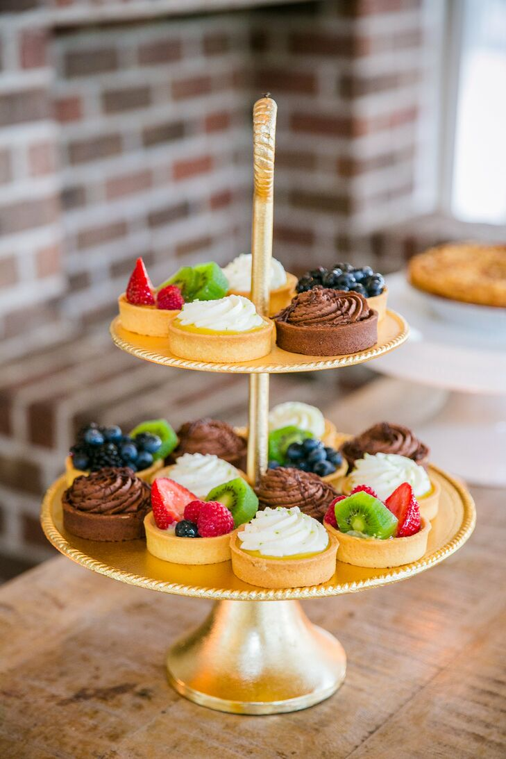 In lieu of a wedding cake, Chelsey and Matt served an assortment of pies and tarts for their Fourth of July fete.