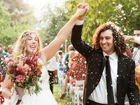 Oregon couple during wedding recessional
