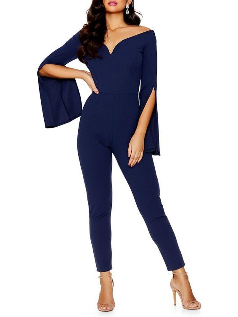 Split-Sleeve Bardot Jumpsuit