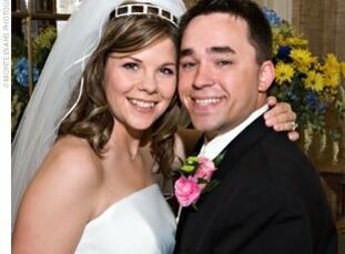 Sarah Sughroue, a professional Knottie, married her college sweetheart Blake Selph in a sunlit courtyard celebration blooming with roses.  The Bride S