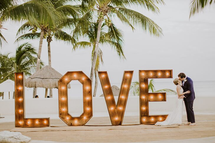 Life-Size Marquee Sign at Beach Reception