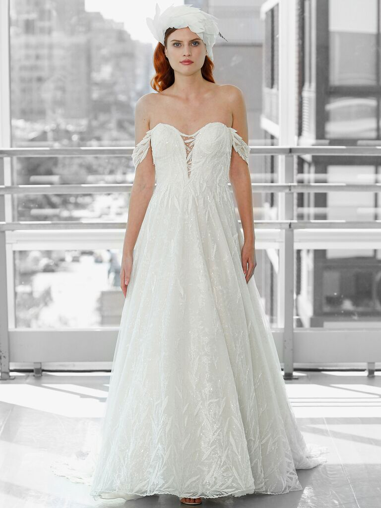 Justin Alexander Signature Wedding Dresses off-the-shoulder ball gown lace