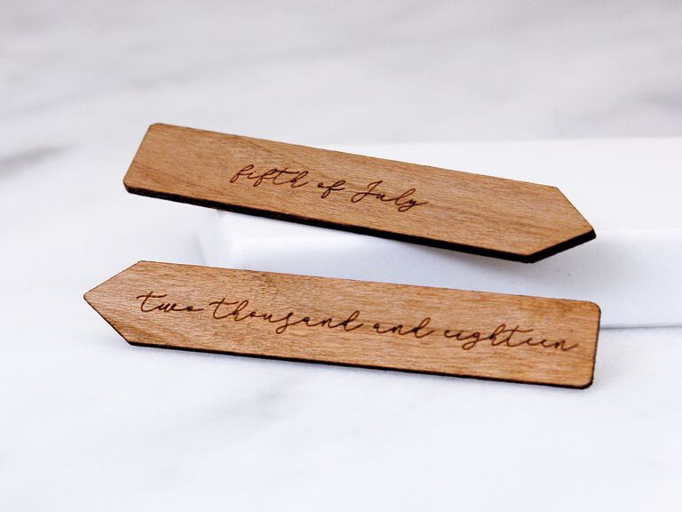 Custom wood collar stays engraved with wedding date written in words