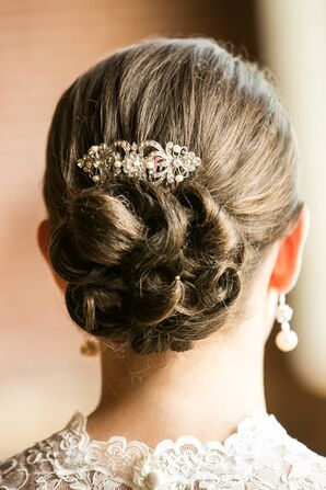 Sophisticated Updo with Crystal Broach