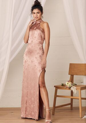 Lulus Red Carpet Ready Light Rose Floral Satin Jacquard Maxi Dress Bridesmaid Dress
