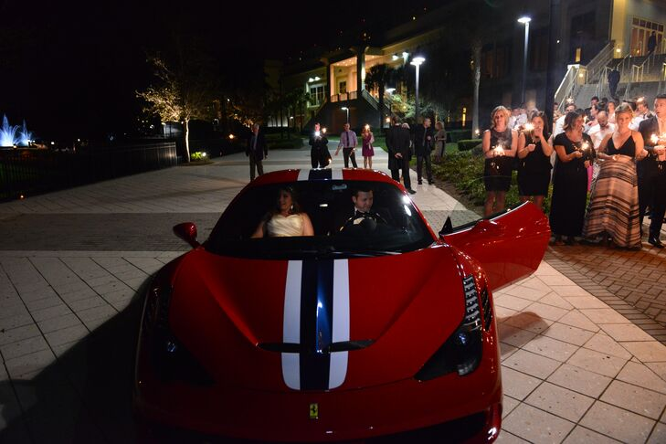 "Before bidding their good-byes, the couple climbed inside a Ferrari 458 Speciale in red. ""Another nod to Jarrett's love of speed,"" Sarah says. And off they drove into their new life together."