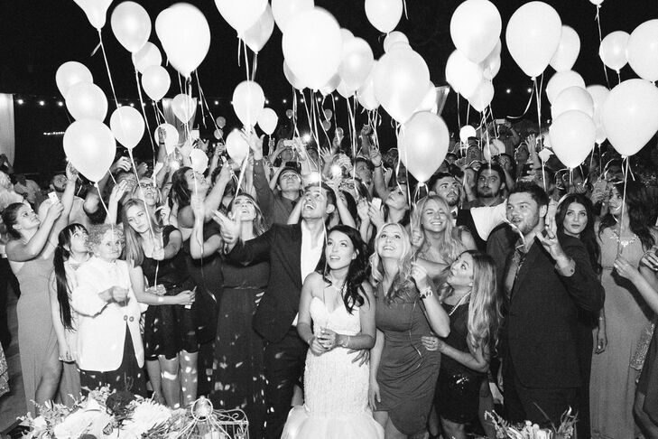 "At the end of the night, guests of all ages gathered on the dance floor to release illuminated balloons into the night sky. It was ""a special way to conclude our night with something memorable,"" Marina says."