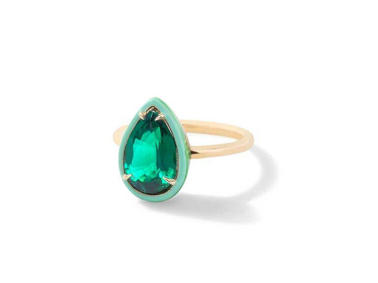 Teardrop emerald engagement ring