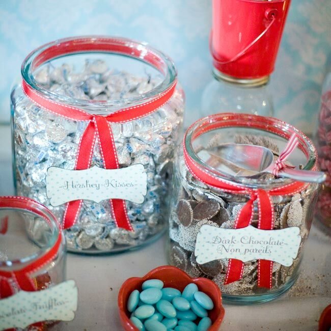 At each setting, guests found a small jar filled with jellybeans and a note encouraging them to visit the candy bar. The candy bar offerings included dark chocolate nonpareils, chocolate wedding kisses and rock-candy lollipops.