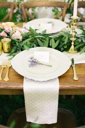 White Swiss-Dot-Decorated Wedding Napkins