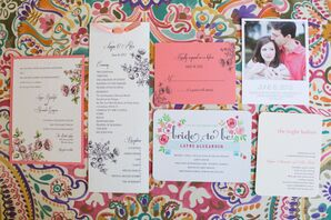 Peach Floral Stationery Suite