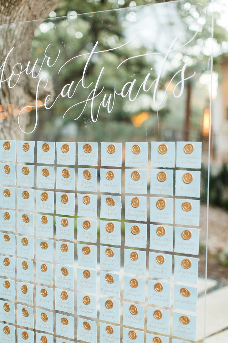 Wax Seal Escort Cards for Reception at The Ivory Oak in Wimberley, Texas