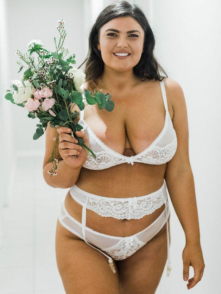 plus size white bridal lingerie