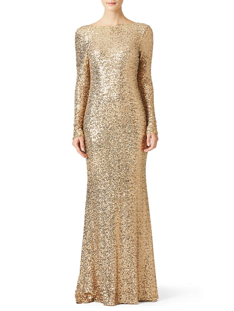 Gold long sleeve sequin evening gown
