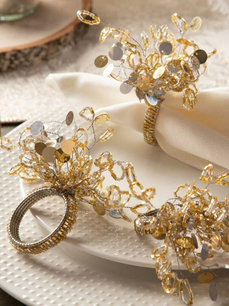 Gold sparkle holiday napkin rings