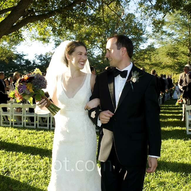 "The couple met in high school - they dated for a few summers in college before both ending up in Dallas.  The Bride Emily Crozier, 29 and third-year resident in otolaryngology - head and neck surgery, at University of Texas Southwestern Medical Center The Groom Jonathan Ret, 29 and an attorney at A. William Arnold III & Associates, P.C.  The Date October 10  ""I wanted the wedding to feel very organic with beautiful raw elements,"" Emily says. ""I also wanted there to be some vivid color to set it all off."" She chose peacock blue and chartreuse green with accents of bronze and brown."